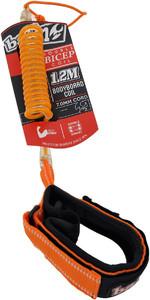 2021 Balin Double Bicep Swivel Coil 1.2M Bodyboard Leash Large 01BBDDCBLTCO - Orange