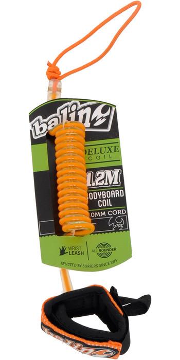 2021 Balin Deluxe Coil 1.2M Bodyboard Wrist Leash 01BBDCUTCO - Orange