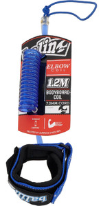 2019 Balin Elbow Coil 1.2M Bodyboard Leash Blue 01-BBDCE