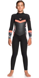 2021 Roxy Girls Syncro 3/2mm Back Zip Wetsuit ERGW103030 - Black / Bright Coral