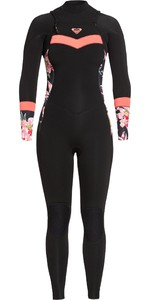 2020 Roxy Womens Syncro 5/4/3mm Chest Zip Wetsuit ERJW103057 - Black / Bright Coral