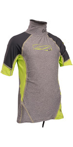 2018 GUL Junior Short Sleeve Rash Vest Marl / Lime RG0341-B4