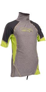 GUL Junior Short Sleeve Rash Vest Marl / Lime RG0341-B4