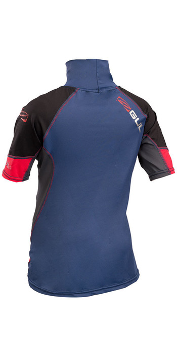 2019 GUL Junior Short Sleeve Rash Vest Blue / Red RG0341-B4
