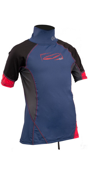 2018 GUL Junior Short Sleeve Rash Vest Blue / Red RG0341-B4