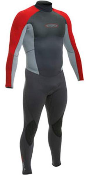 Gul Contour Junior 3/2mm Steamer Wetsuit in RED / GREY / BLACK