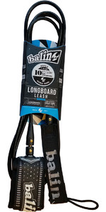 2019 Balin Longboard 7.4mm Double Swivel Leash Black - 10ft