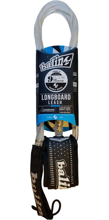 2021 Balin Longboard 7.4mm Double Swivel Leash Clear - 9ft