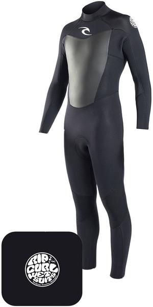 2018 Rip Curl Omega Wetsuit 3/2mm Black & Neoprene Wetty Change Mat Bundle Offer