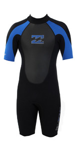 2019 Billabong JUNIOR Intruder 2mm Back Zip Shorty Wetsuit Black / BLUE S42B08
