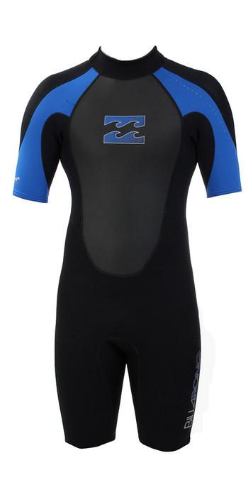 2019 Billabong JUNIOR Intruder 2mm Back Zip Shorty Wetsuit Black / BLUE S42B08