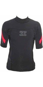 Billabong 1mm Punch Short Sleeve Neo Top in BLACK / RED G4EQ07