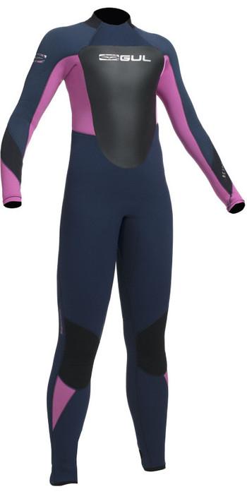 2020 Gul Response 5/3mm Junior Back Zip Wetsuit Navy / Pink RE1218-B1