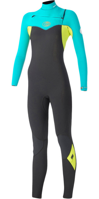 Rip Curl Womens Flashbomb 4/3mm Chest Zip Wetsuit Grey (turquoise) Wsm5fg Picture