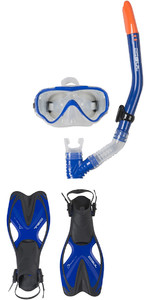 2019 Gul Tarpon JUNIOR Mask / Snorkel & Fin SET in Blue / Black GD0004