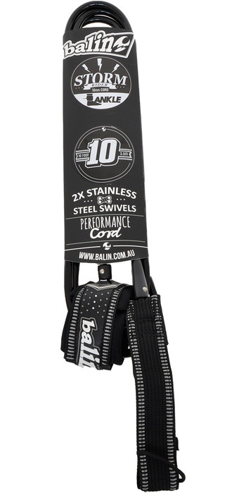 2021 Balin Stormrider 10mm Double Swivel SUP Ankle Leash 10ft Black