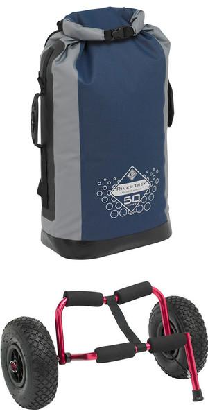 Palm Trek: T100 Caddy Kayak Trolley Red & River Trek 50L Dry Bag Bundle Offer