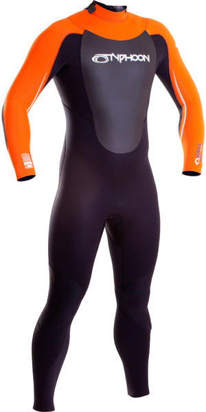 2018 Typhoon Vortex 5/4/3mm GBS Back Zip Wetsuit Black / Orange 250653