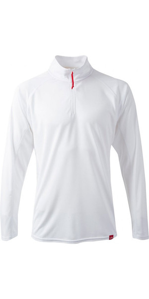2018 Gill Mens UV Tec Zip Neck Top in ARCTIC WHITE UV003