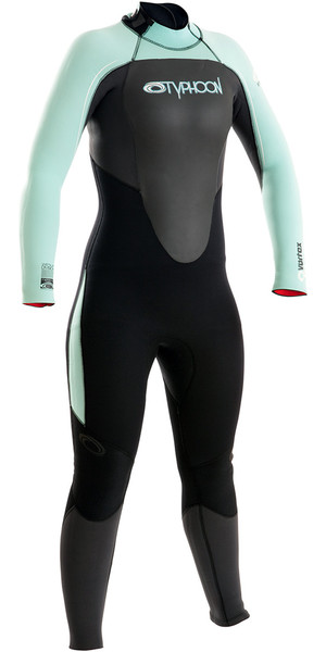 2018 Typhoon Womens Vortex 5/4/3mm GBS Back Zip Wetsuit Graphite / Glacier 250681