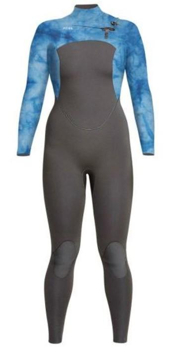 2021 Xcel Womens Comp 3/2mm Chest Zip Wetsuit WN32ZX - Graphite / Tye Dye