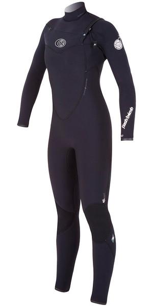 Rip Curl Ladies 4/3mm Flashbomb CHEST ZIP Wetsuit in Black WSM4FG
