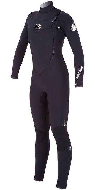 Rip Curl Ladies 4/3mm Flashbomb Chest Zip Wetsuit In Black Wsm4fg Picture