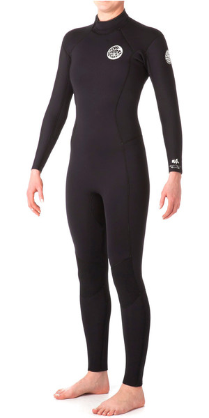 Rip Curl Womens Dawn Patrol 4/3mm GBS Back Zip Wetsuit Black WSM4FW