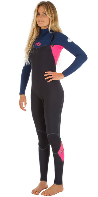 Rip Curl Womens Flashbomb 4/3mm Chest Zip Wetsuit Navy Wsm5fg Picture