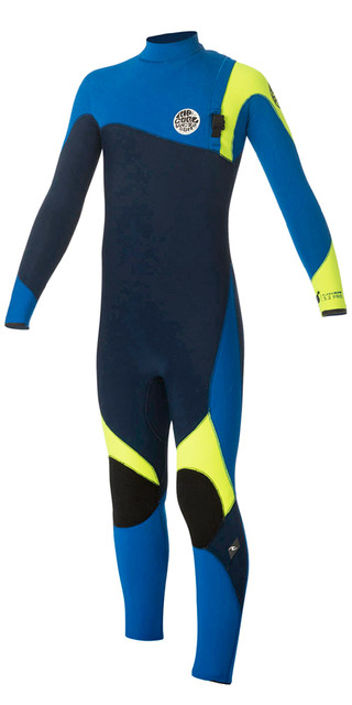 Rip Curl Junior Flash Bomb 3/2mm Gbs Zip Free Wetsuit Blue Wsm5ob Picture