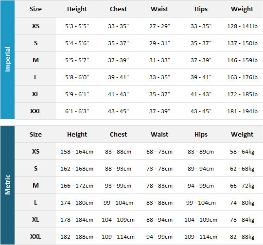 Aropec Mens Wetsuits 19 Mens Size Chart