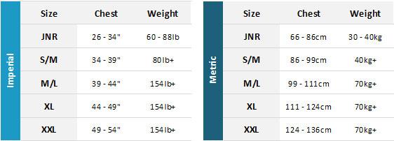Yak BA 19 Mens Size Chart