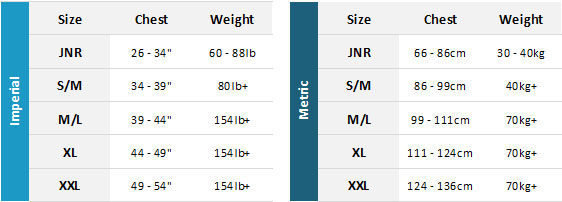 Crewsaver BA 19 Mens Size Chart