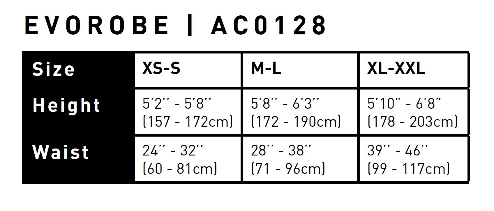 Gul EvoRobe Adult Size 2021 0 Size Chart