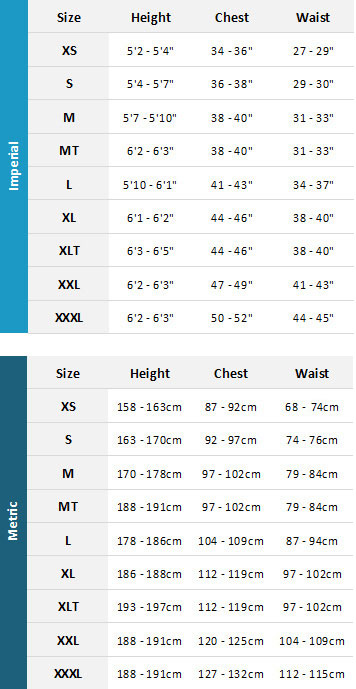 Gill Mens Jackets 19 0 Size Chart