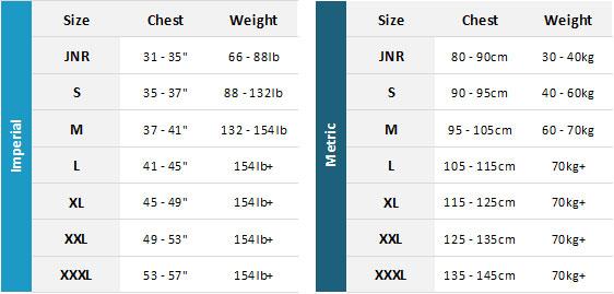 Gul Code Zero BA 19 Mens Size Chart