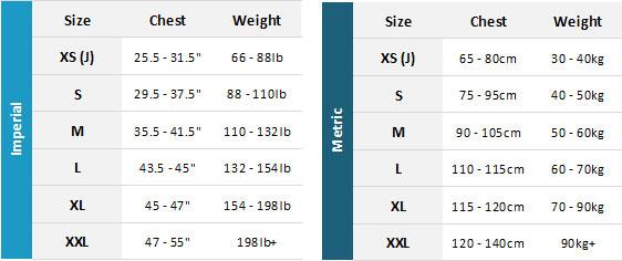 Gul Evo2 BA 19 Mens Size Chart