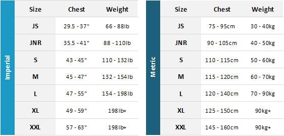 Gul Gamma BA 19 Mens Size Chart
