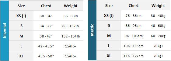 Gul Garda BA 19 Mens Size Chart
