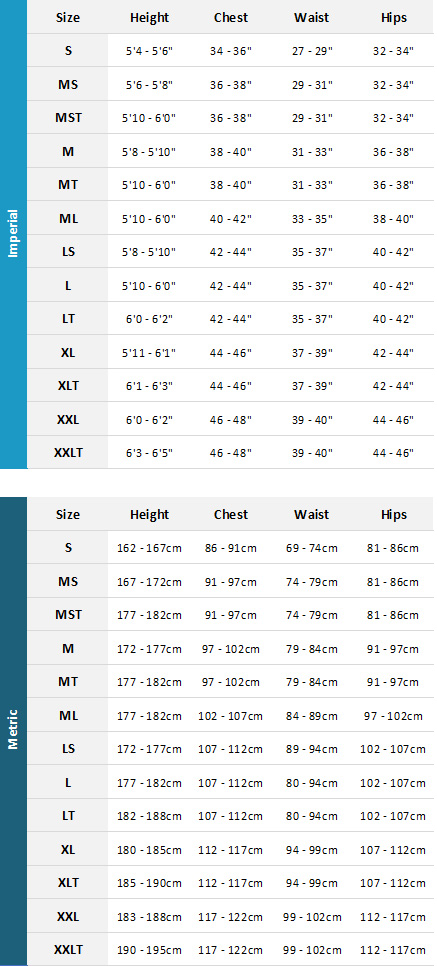 Gul Mens Wetsuits 19 Mens Size Chart