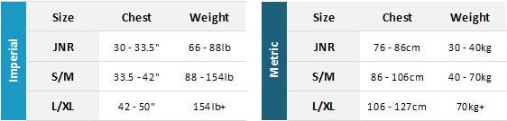 Gul Rec BA 19 Mens Size Chart