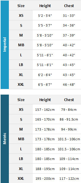 Musto Mens MArine Garments 19 Mens Size Chart
