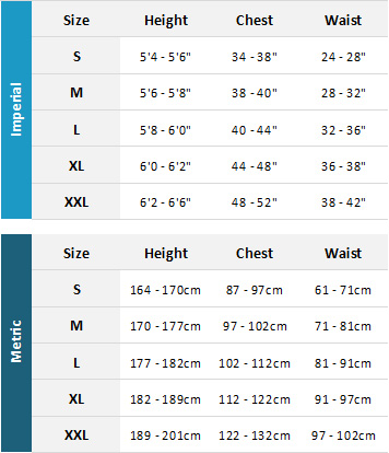 Nookie Mens Tops / Jackets 19 Mens Size Chart