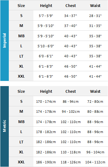 Palm Mens Drysuits 19 Mens Size Chart