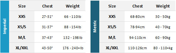 Palm Mens / Unisex BA 19 Mens Size Chart