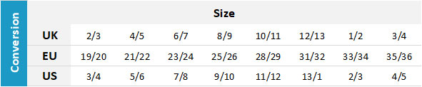 Reef Junior Footwear 0 Size Chart