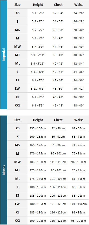 Typhoon Mens Wetsuits 19 Mens Size Chart