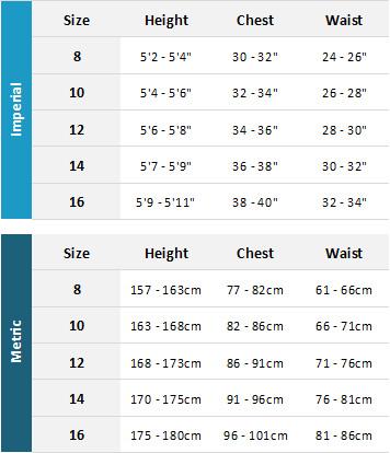 Typhoon Womens Wetsuits 19 Womens Size Chart