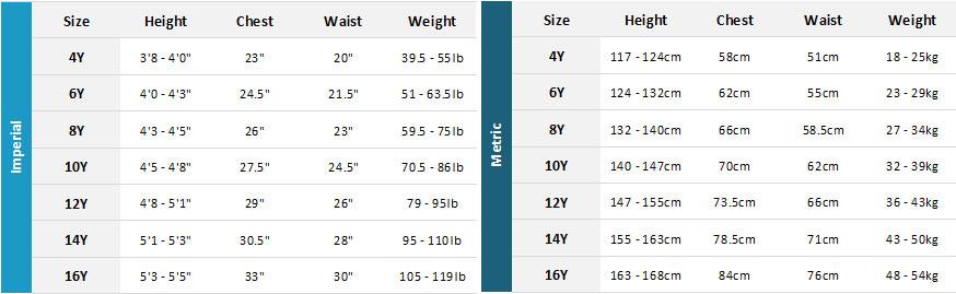 Xcel Junior Wetsuits 20 Mens Size Chart