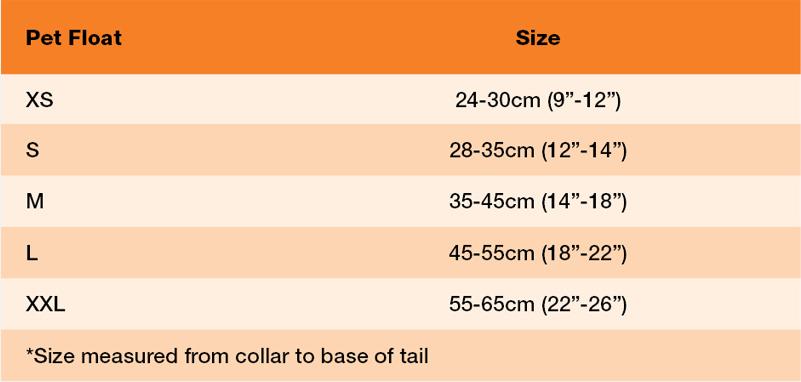 Crewsaver Pet Float Size 21 0 Size Chart